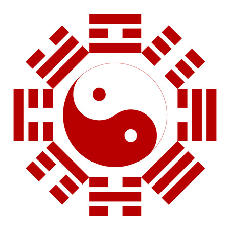 fengshui: Bagua or Pakua. Feng Shui Compass. Vector illustration