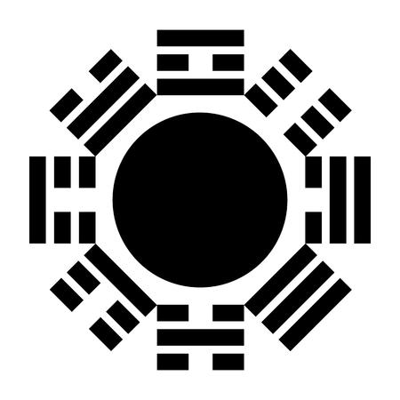 Chinese Bagua symbol on red. Vector illustration Illustration