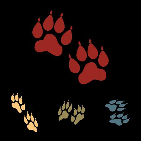 huellas de animales: Huellas de animales. conjunto de iconos vectoriales con efectos isom�trica Vectores