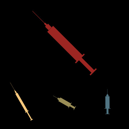 Syringe sign. Vector icon set with isometric effect