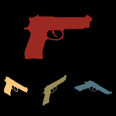 dangerous weapons: Gun sign. Vector icon set with isometric effect Illustration