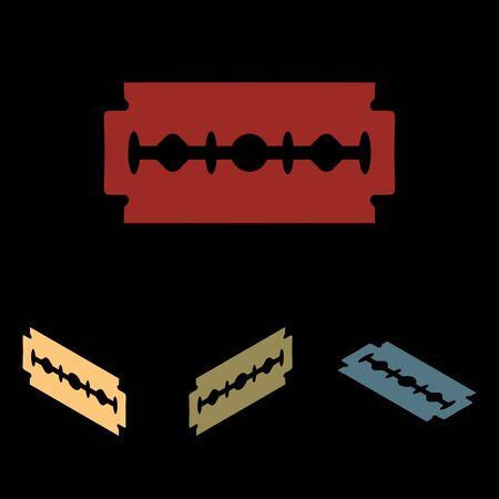 razor blade: Razor blade. Vector icon set with isometric effect