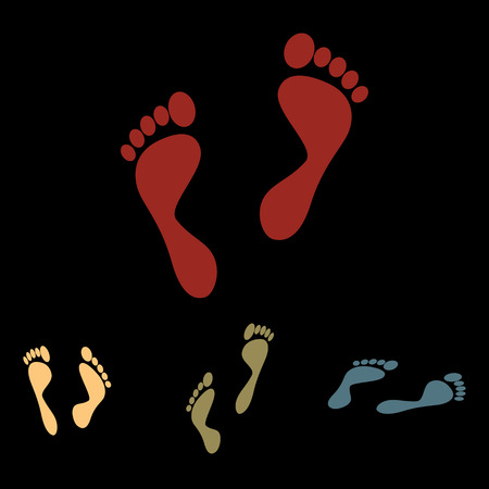 commit: Foot prints. Vector icon set with isometric effect