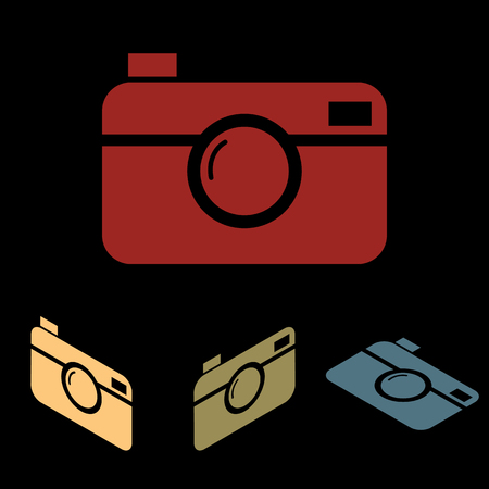 whim of fashion: Digital photo camera. Vector icon set with isometric effect