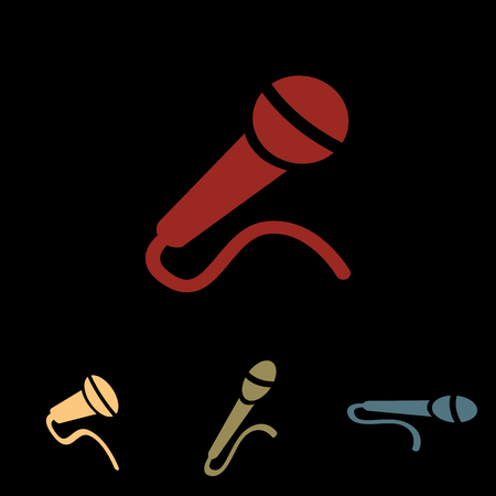 amplification: Microphone sign. Vector icon set with isometric effect