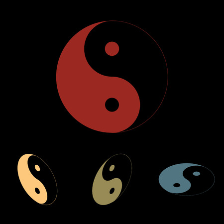 yinyang: Ying yang symbol of harmony and balance icon  set. Isometric effect Illustration