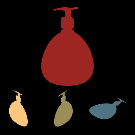 intimate: Gel, Foam Or Liquid Soap Dispenser Pump Plastic Bottle silhuette set. Isometric effect Illustration