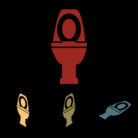 flush toilet: Toilet sign. Vector icon set with isometric effect Illustration