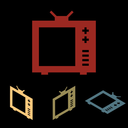 tvset: TV sign. Vector icon set with isometric effect