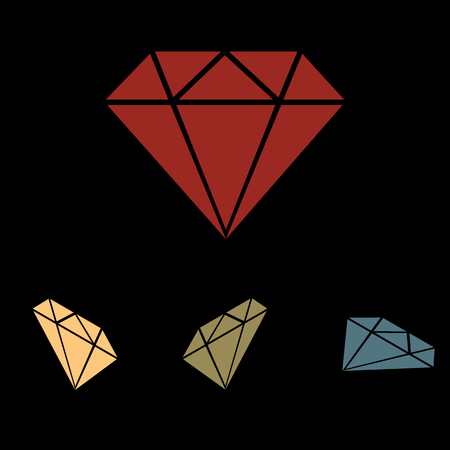 Diamond sign. Vector icon set with isometric effect