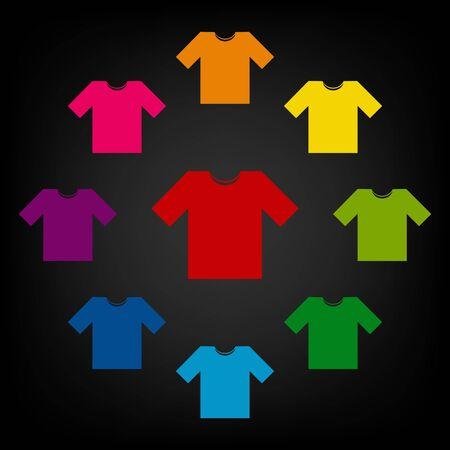 t short: T-shirt icon set. Vector colorfull design elemens