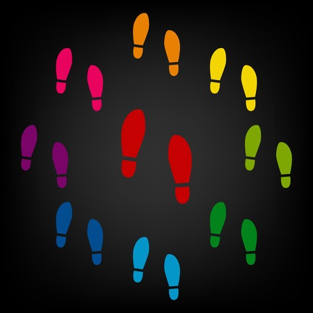 shoeprint: Imprint soles shoes icon. Vector colorfull design elemens Illustration