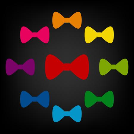 black bow: Vector Black Bow Tie icon. Vector colorfull design elemens Illustration