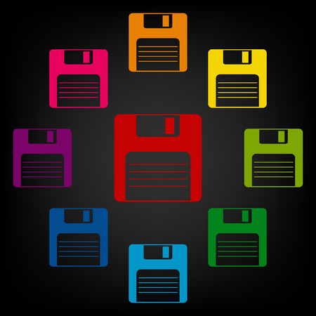 old pc: floppy disk  Vector icon. Vector colorfull design elemens Illustration