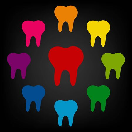 toothcare: Tooth Icon set. Vector colorfull design elemens