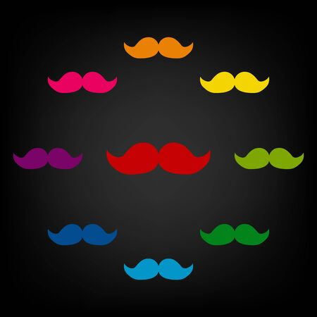 candid: Set of moustaches icon.Vector colorfull design elemens