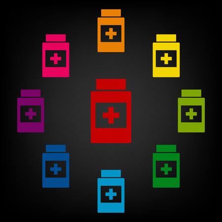 placebo: Medical container icon. Vector colorfull design elemens