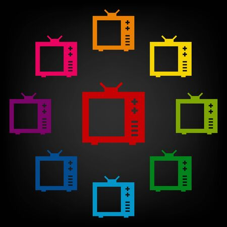 tvset: TV icon set. Vector colorfull design elemens
