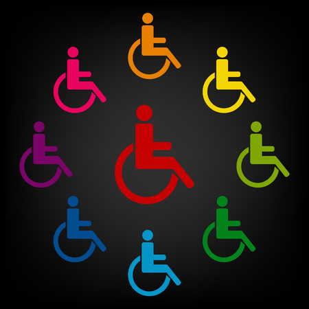 one man only: Disabled icon set. Vector colorfull design elemens Illustration