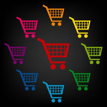 purchases: Shopping cart icons for online purchases. Vector colorfull design elemens