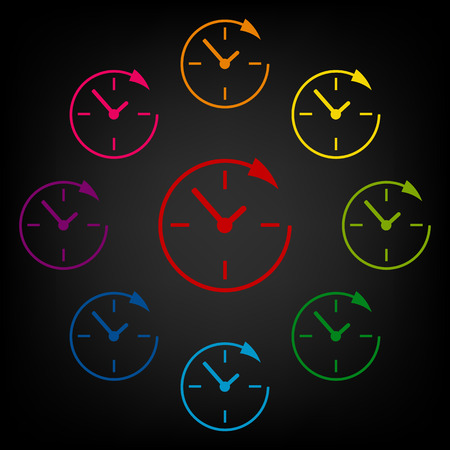 around the clock: Service and support for customers around the clock and 24 hours. Vector colorfull design elemens