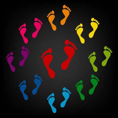 forensic: Foot prints icon. Vector colorfull design elemens