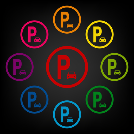 parking is prohibited: Parking sig icon set. Vector colorfull design elemens