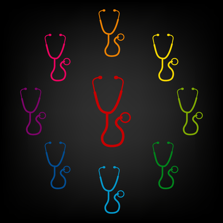 io: Stethoscope icon set. Vector colorfull design elemens Illustration