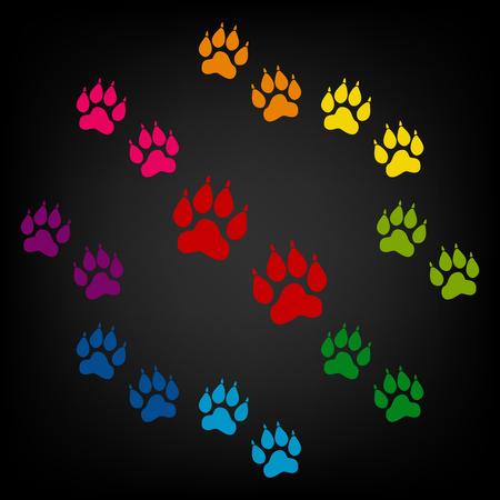huellas de animales: Animal Tracks icono. Vector colorido elemens dise�o Vectores