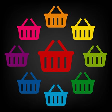 consumerism: Shopping basket icon. Vector colorfull design elemens