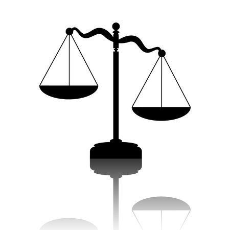 criminal justice: Scales of Justice. Black vector illustration with reflection. Illustration
