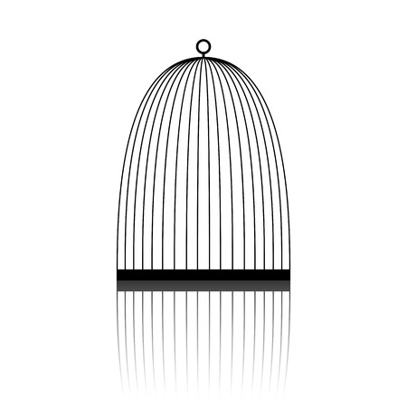 caged: Bird cage icon. The water faucet icon. Illustration
