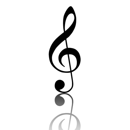 conduct: violin clef. Black vector illustration with reflection.