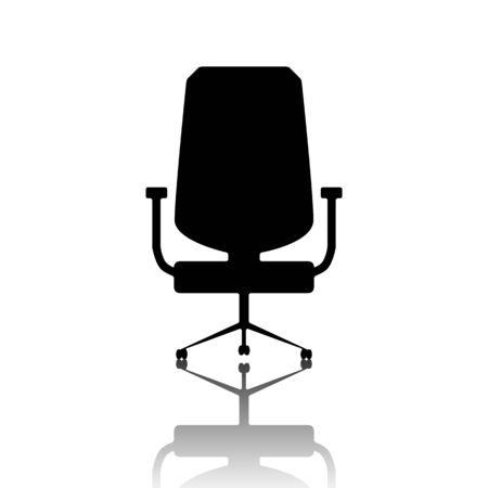 ergonomic: Office chair icon. Black vector illustration with reflection.