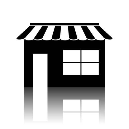 urbanization: Shop icon. Black vector illustration with reflection.