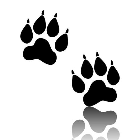 huellas de animales: Huellas de animales. ilustraci�n vectorial negro con la reflexi�n. Vectores