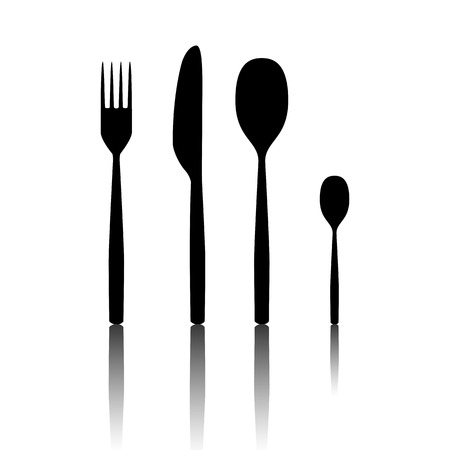 fork and spoon: Fork spoon knife. Black vector illustration with reflection.