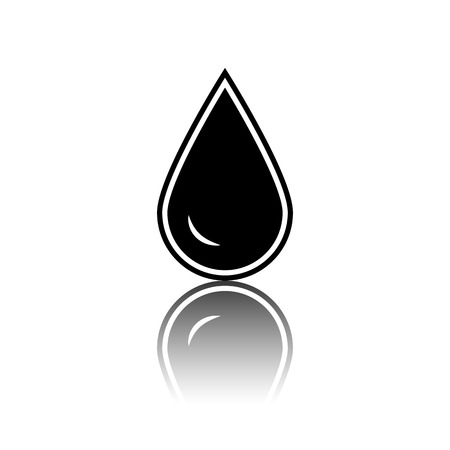 benzine: Drop of water. Black vector illustration with reflection.