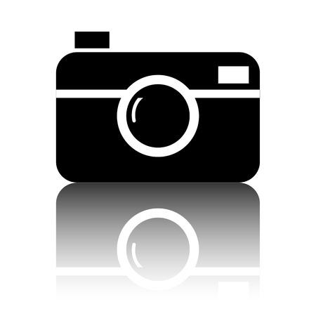 digital photo: Digital photo camera icon. Black vector illustration with reflection.