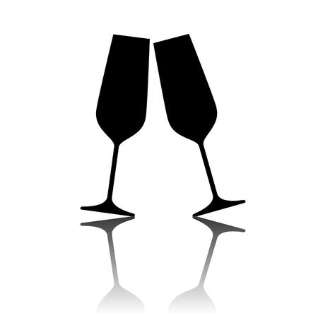 brindisi spumante: Illustrazione vettoriale concettuale di bicchieri di champagne frizzante.