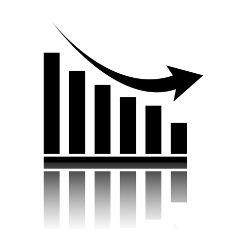 Vector declining graph icon. Black vector illustration with reflection. Illustration