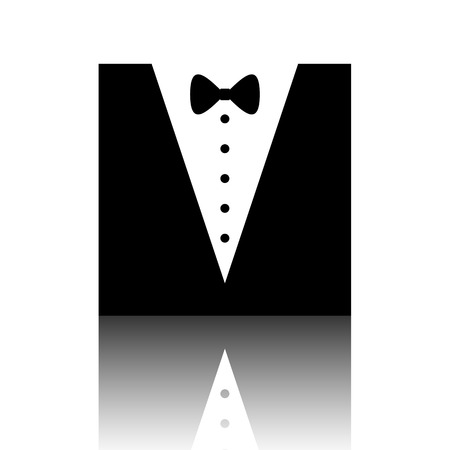Tuxedo with bow silhouette. Black vector illustration with reflection.