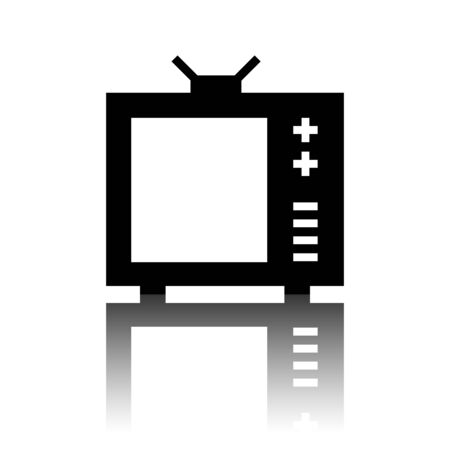 tvset: TV vector icon. Black vector illustration with reflection.