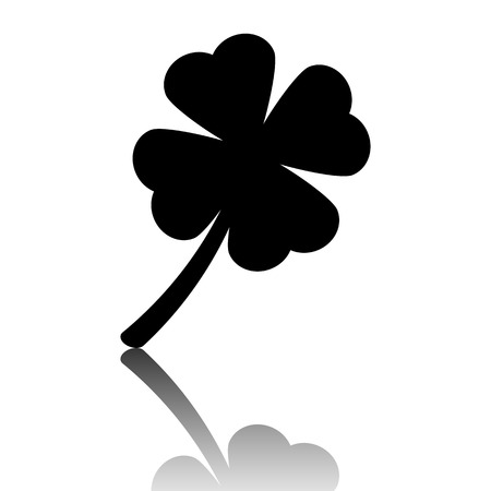 patric icon: Clover leaf icon. Black vector illustration with reflection.