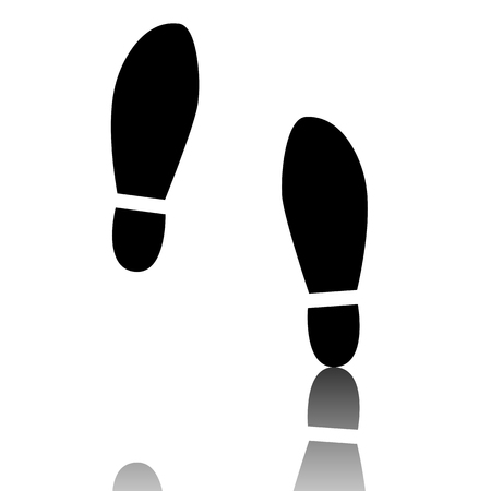 imprint: Imprint soles shoes icon. Black vector illustration with reflection. Illustration