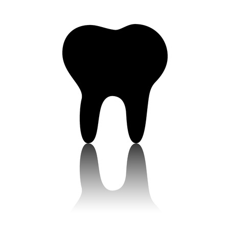 toothcare: Tooth Icon. Black vector illustration with reflection.