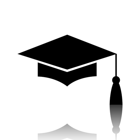 Mortar Board or Graduation Cap, Education symbol. Black vector illustration with reflection.