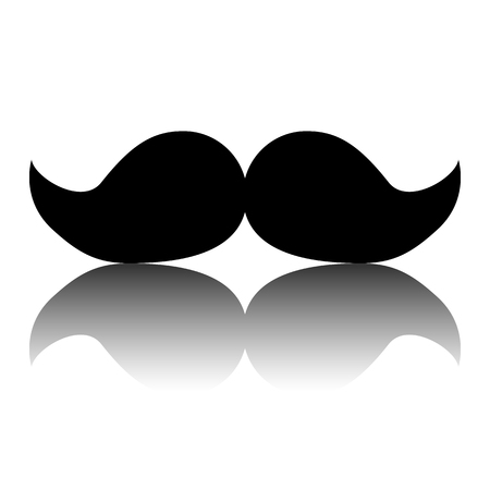 Moustaches icon. Black vector illustration with reflection.