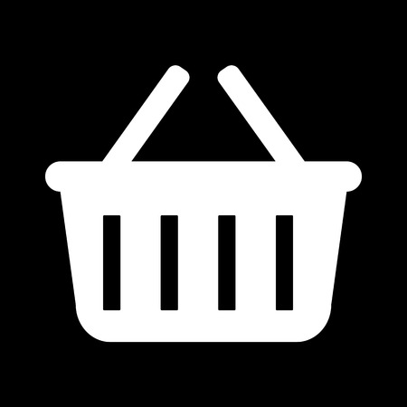 Compras icono de la cesta. Blanco en el negro