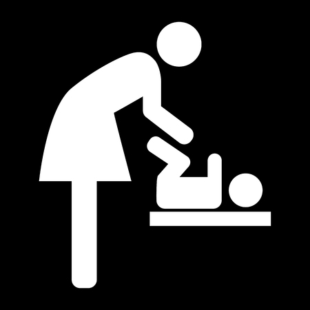 Symbol For Women And Baby Baby Changing White Icon On The Green